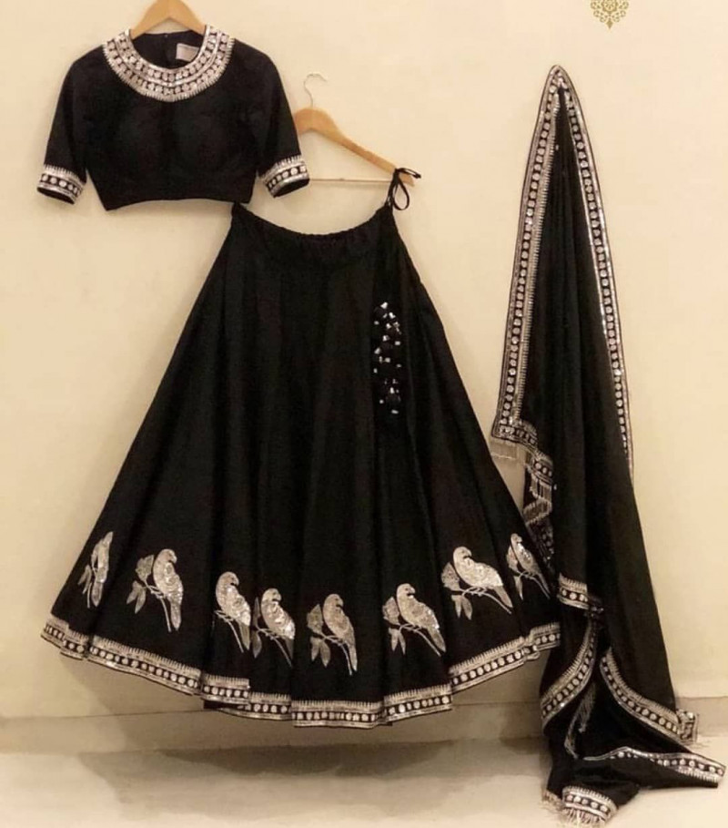 Sophisticated Party Wear Black Color Lehenga Choli