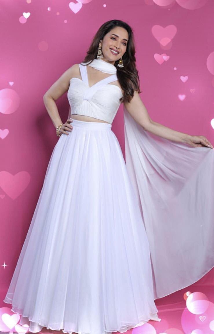 Madhuri Dixit White Color Party Wear Lehenga Choli