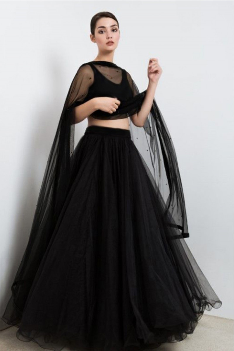 Black Wedding Lehenga  Choli Net With Velvet Blouse And Pulse Dupatta With Can Can 2019