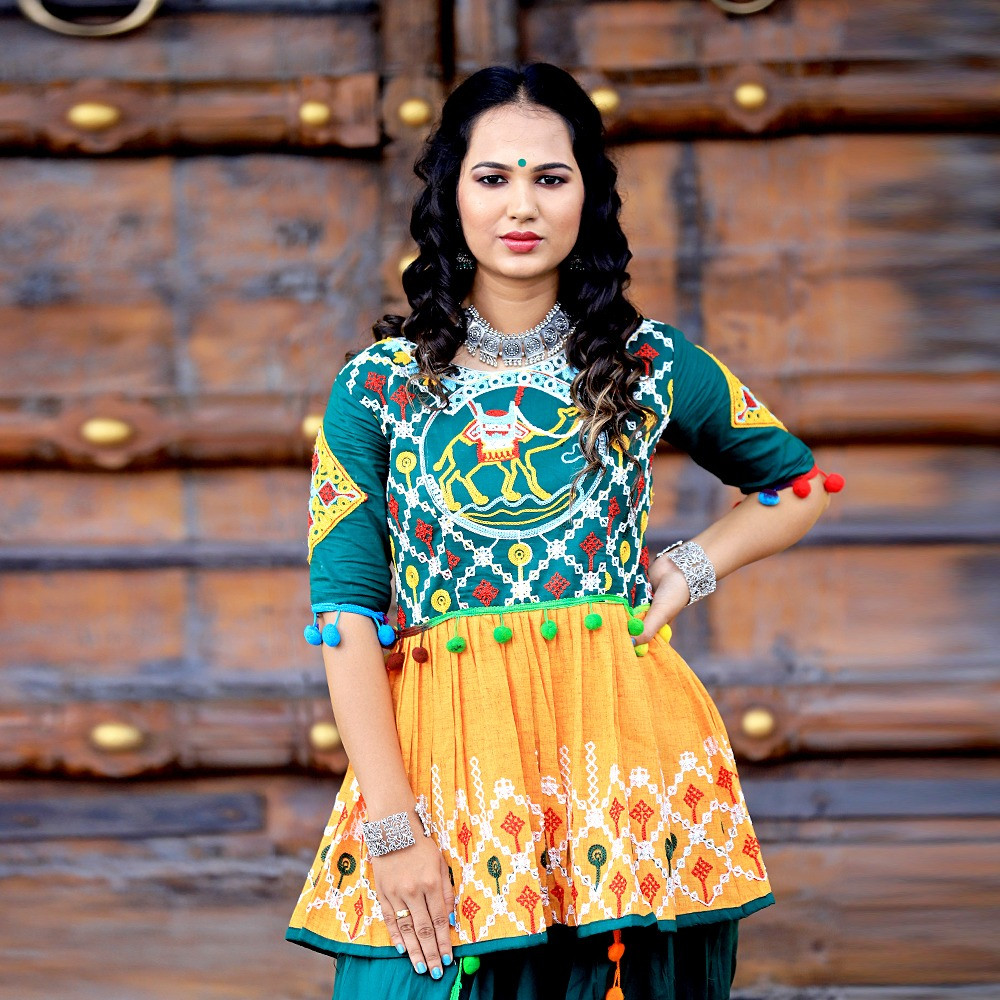 Delightful Ras-Garba Function Dark Green And Mustard Yellow Color Dhoti Kediya