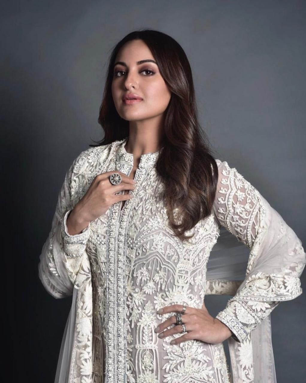 Sonakshi Sinha Elegantly Gorgeous white Party Wear Suit