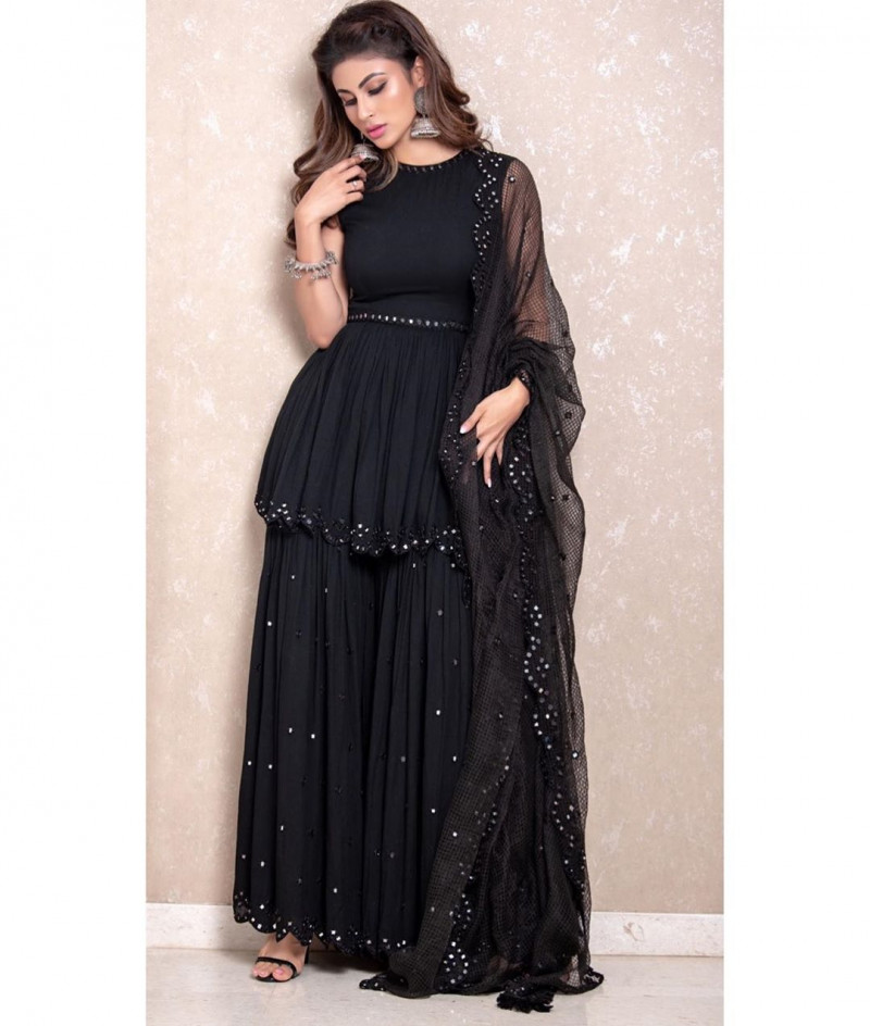 Mouni Roy Stunning Black Colored Bollywood Sharara Suit