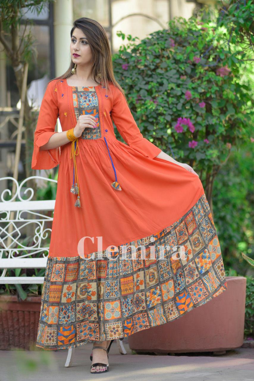 New Party Wear Rayon and mix cotton Gown