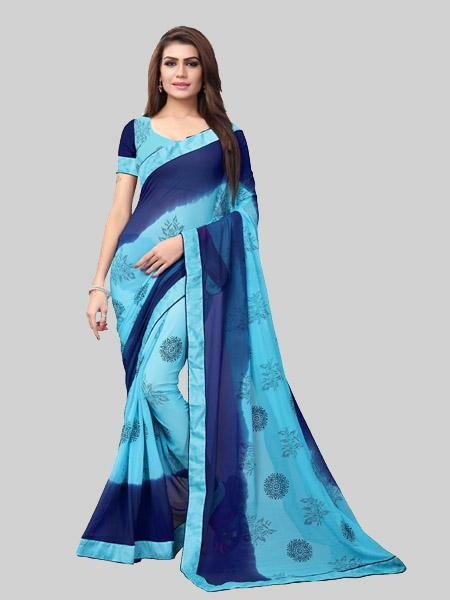 Buy Blue Dyed Printed Georgette Saree Online On YOYO Fashion