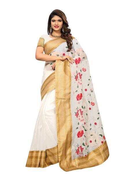 Buy Latest Poli Net White Embroidered Saree Online On YOYO Fashion.