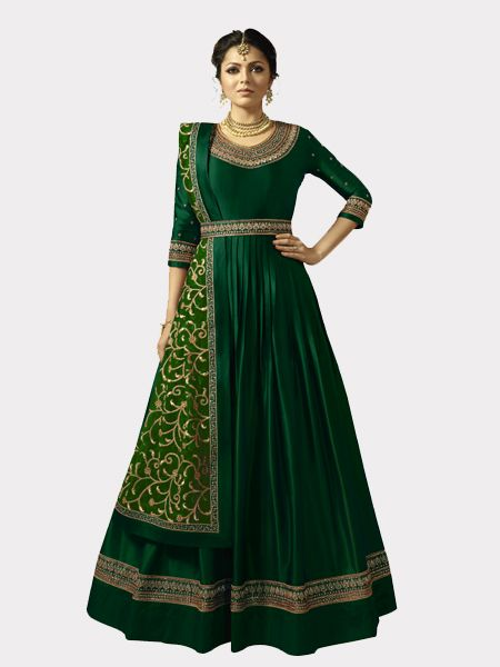 Buy Designer Green Anarkali Salwar Suit Online- YOYO Fashion