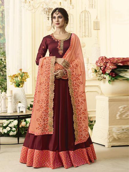 Buy Designer Red Anarkali Salwar Suit Online- YOYO Fashion