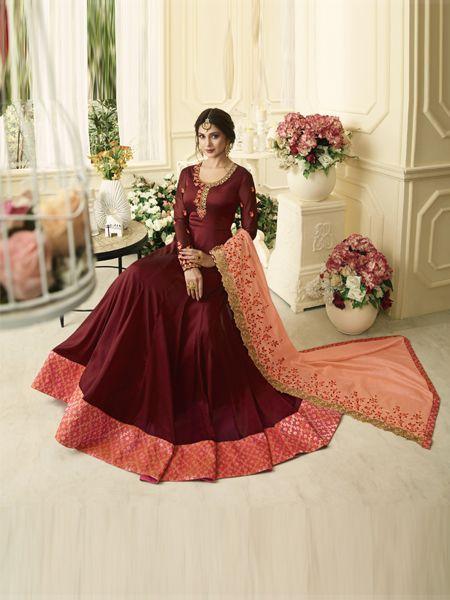 Designer Red Anarkali Salwar Suit