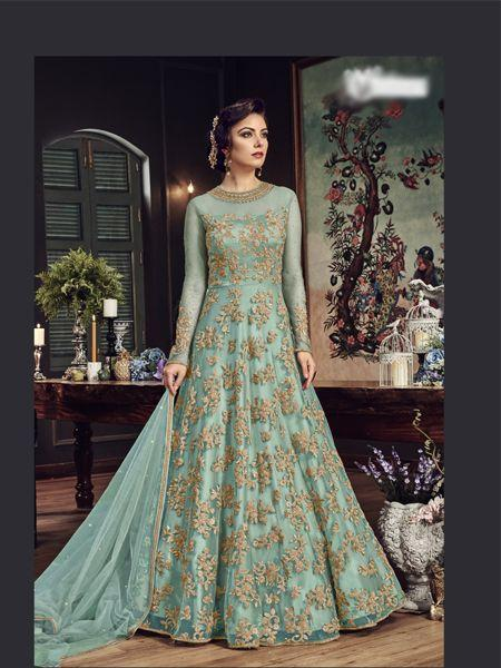 Buy Sky Blue Designer Anarkali Salwar Suit Online- YOYO Fashion
