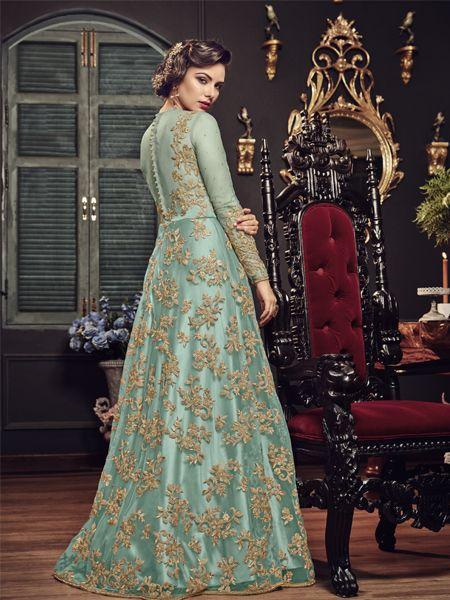 Sky Blue Designer Anarkali Salwar Suit