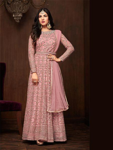 Buy Pink Designer Net Anarkali Salwar Suit Online- YOYO Fashion