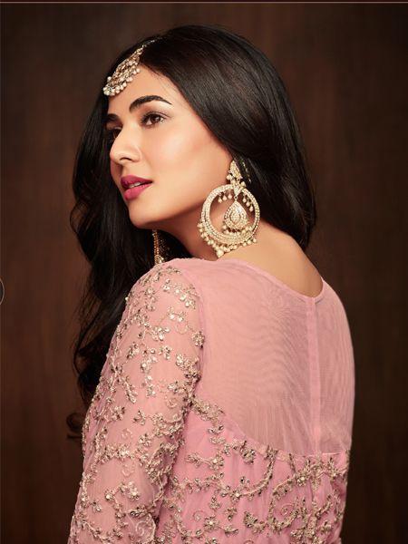 Pink Designer Net Anarkali Salwar Suit