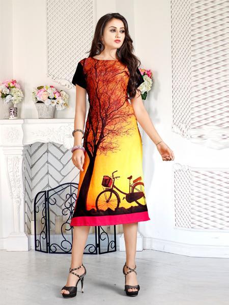 Orange and Multi Color Printed Kurti