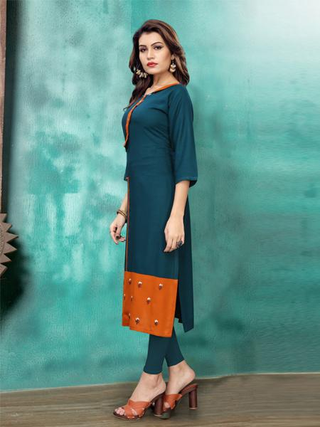 Heavy Rayon Embroidery Work Kurti