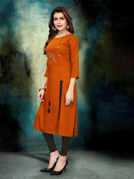 Elegant Heavy Rayon Embroidery Work kurti