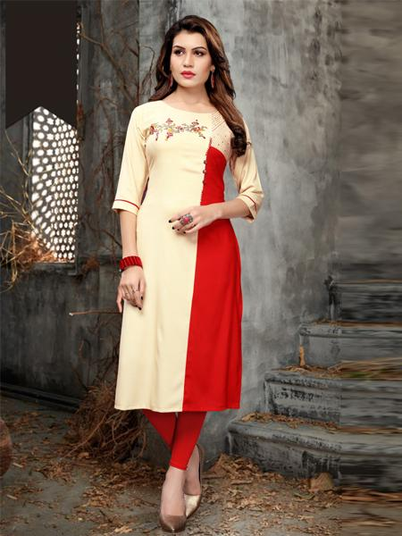 Cream and Red Heavy Rayon Embroidery Work Kurti