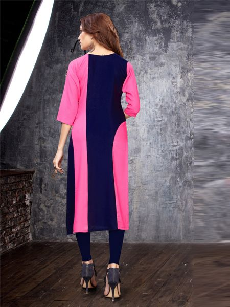 Pink and Blue Embroidery Work Kurti