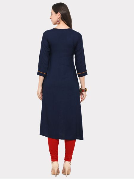 Blue and Multicolor Heavy Rayon Kurti