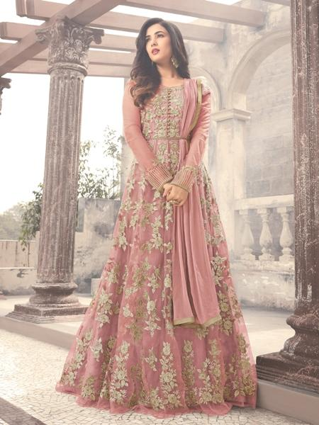 Buy Onion Pink Embroidered Net Anarkali Online- YOYO Fashion
