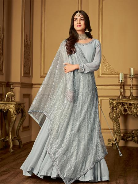 Buy Designer Grey Anarkali Suit Online-YOYO Fashion