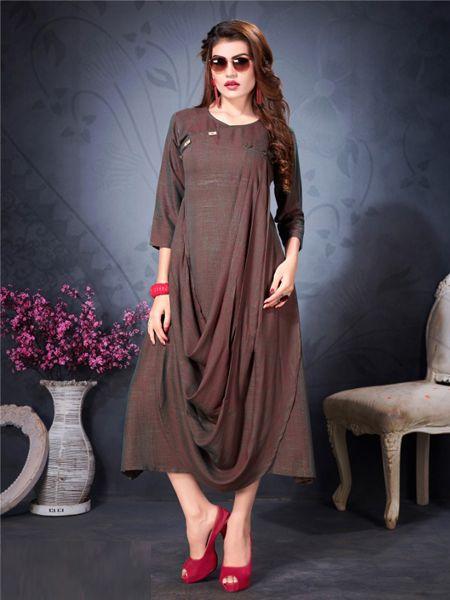 Buy Designer Brown Stylish Kurti Online in India - YOYO Fashion