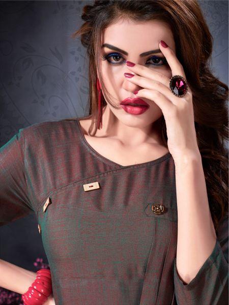 Brown Kurti Front Neck Design - F388 - YOYO Fashion