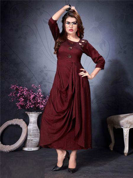 Buy Designer Maroon Stylish Kurti Online in India - YOYO Fashion