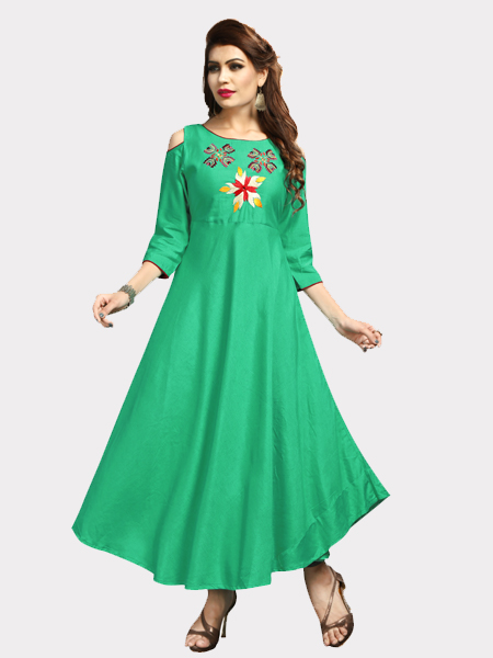 Buy Designer Party wear Rayon Green Kurti Online in India- YOYO Fashion