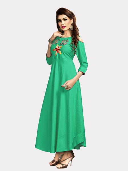 Designer Partywear Rayon Green Kurti