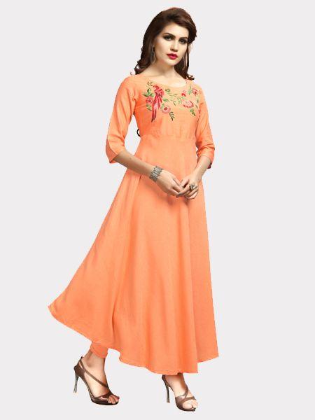 Buy Designer Light Orange Kurti Online in India- YOYO Fashion