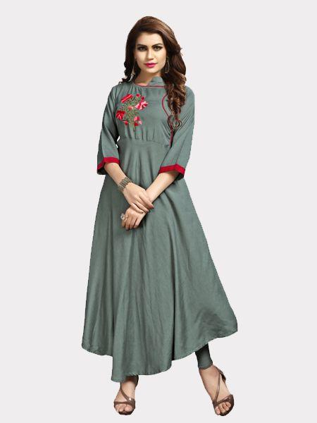 Buy Designer Grey Rayon Kurti Online in India- YOYO Fashion