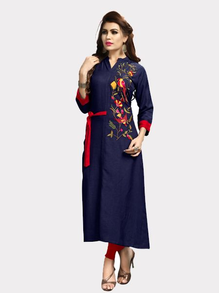 Buy Designer Blue Rayon Kurti Online in India- YOYO Fashion