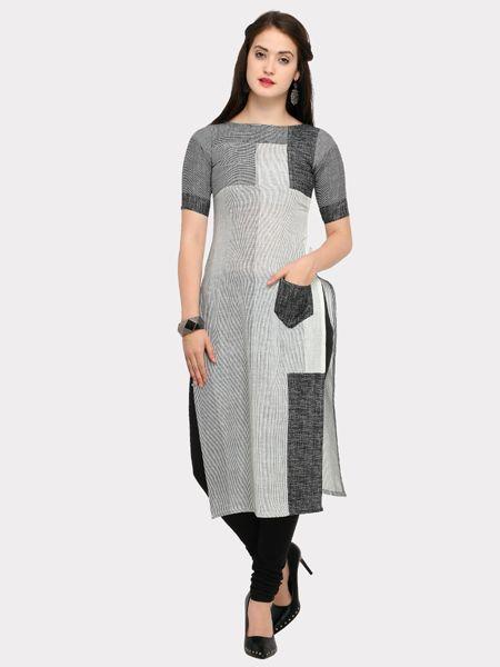Buy Designer White  and Grey Cotton Kurti Online in India- YOYO Fashion