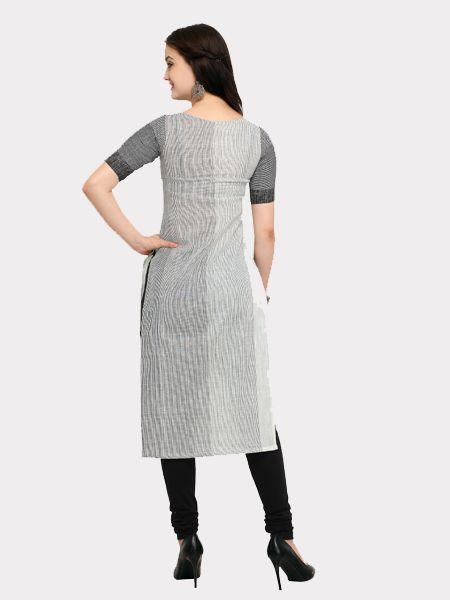 Designer White  and Grey Cotton Kurti