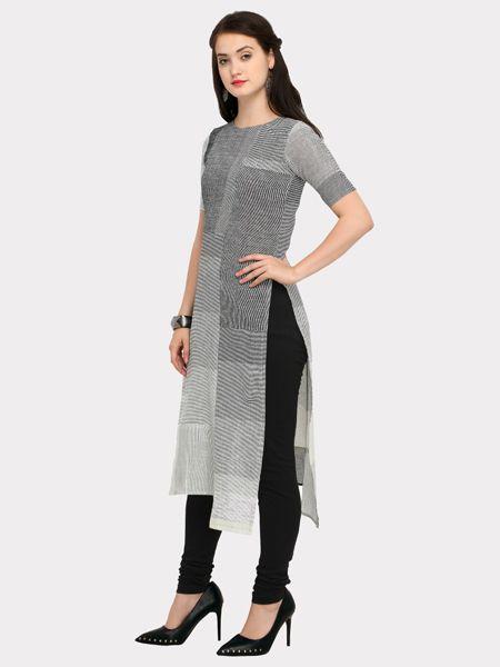 Designer Grey and Black Cotton Kurti