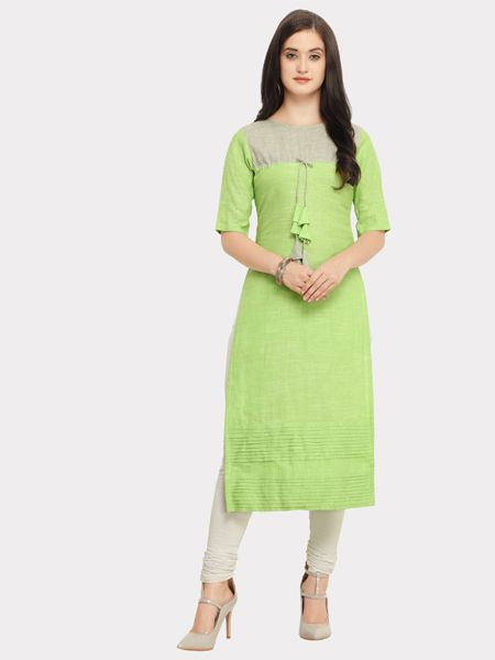 Buy Designer Light Green Cotton Kurti Online in India- YOYO Fashion