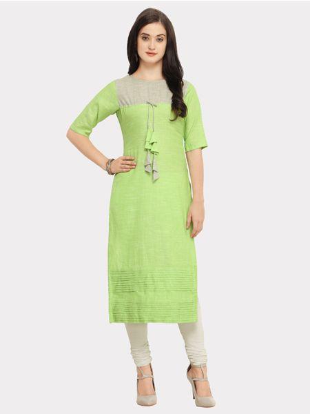 Designer Light Green Cotton Kurti