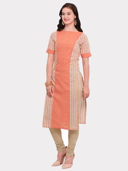 Buy Designer White and Orange Cotton Kurti Online in India- YOYO Fashion