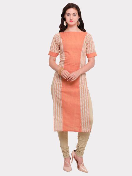Designer White and Orange Cotton Kurti