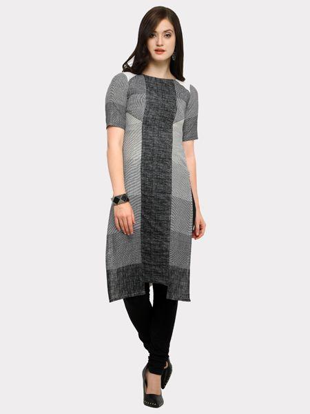 Buy Grey and White Striped Kurti Online in India - YOYO Fashion