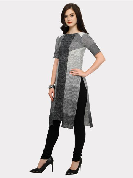 Grey and White Striped Kurti