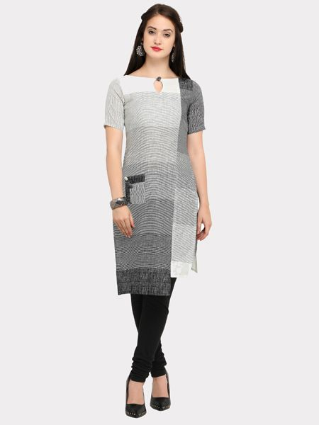 Buy Grey White Asymmetrical Kurti Online in India- YOYO Fashion