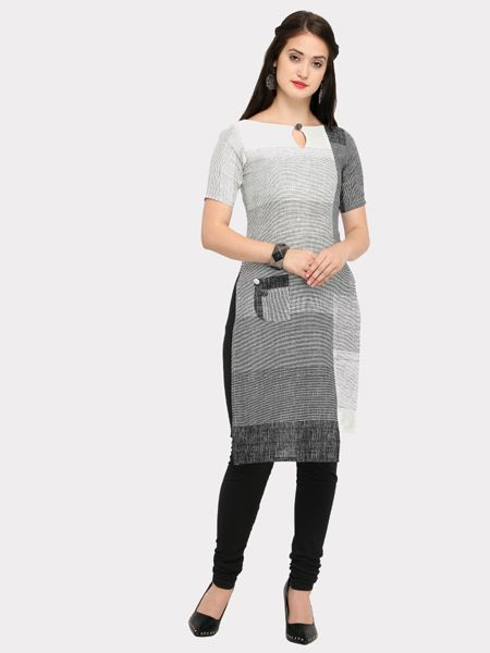 Grey White Asymmetrical Kurti
