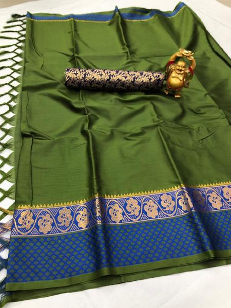 Green and Blue Border Silk Saree