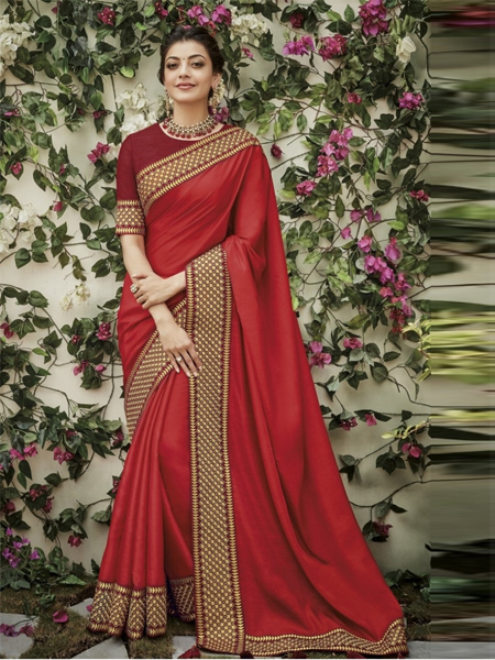 Buy Red Embroidered Border Saree Online in India- YOYO Fashion