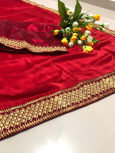 Red Embroidered Border Saree
