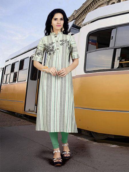 Buy Designer Multicolor Handloom Cotton Kurti Online in India- YOYO Fashion