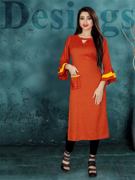 Buy Designer Red Heavy Rayon Kurti Online - YOYO Fashion