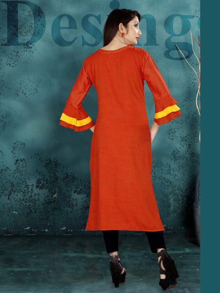 Designer Red Heavy Rayon Kurti
