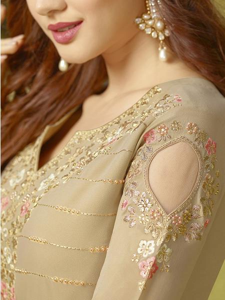 Designer Beige Embroidered Anarkali Suit